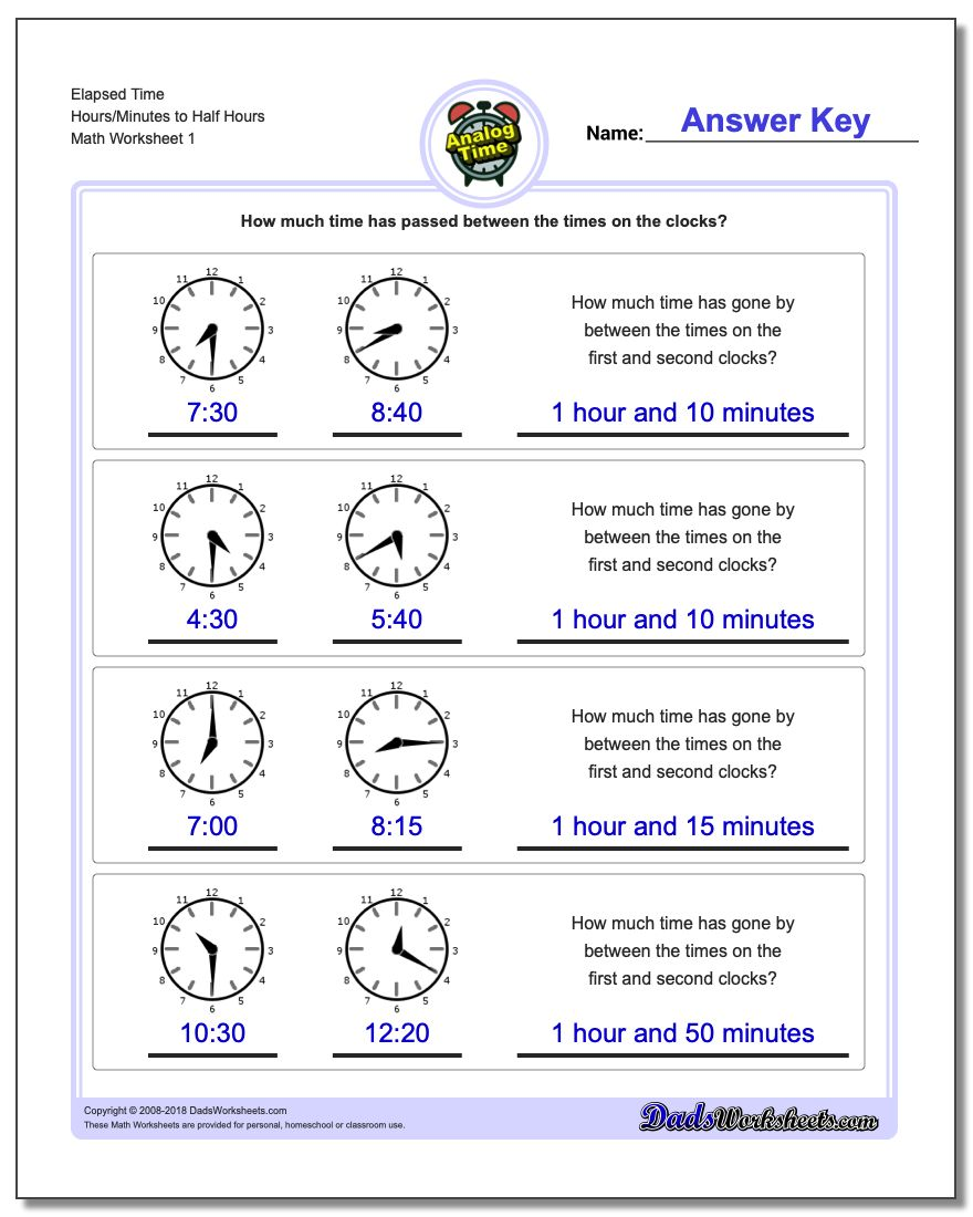 Analog Elapsed Time Hours/Minutes to Half Hours Worksheets