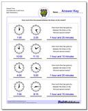 Elapsed Time Hours/Minutes to Half Hours www.dadsworksheets.com/worksheets/analog-elapsed-time.html Worksheet