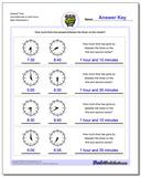 Elapsed Time Hours/Minutes to Half Hours Worksheet