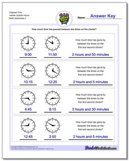 Elapsed Time Harder Quarter Hours Worksheet #Analog #Elapsed #Time #Worksheet