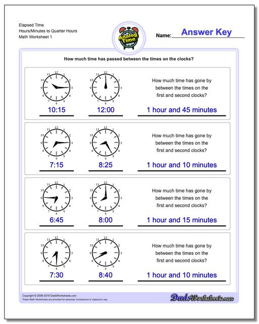 Analog Elapsed Time Hours/Minutes to Quarter Hours Worksheets