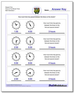 Start From Five Minute Intervals Analog Elapsed Time Worksheet