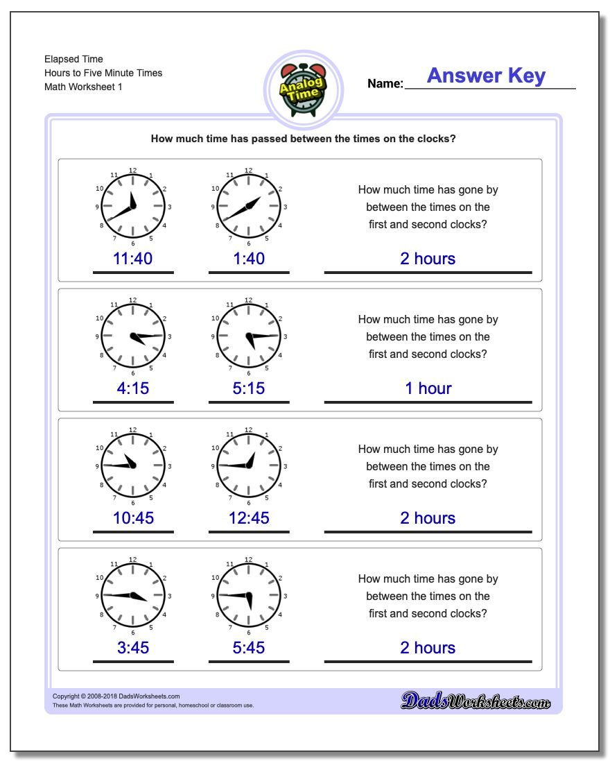 Analog Elapsed Time – Time Worksheets
