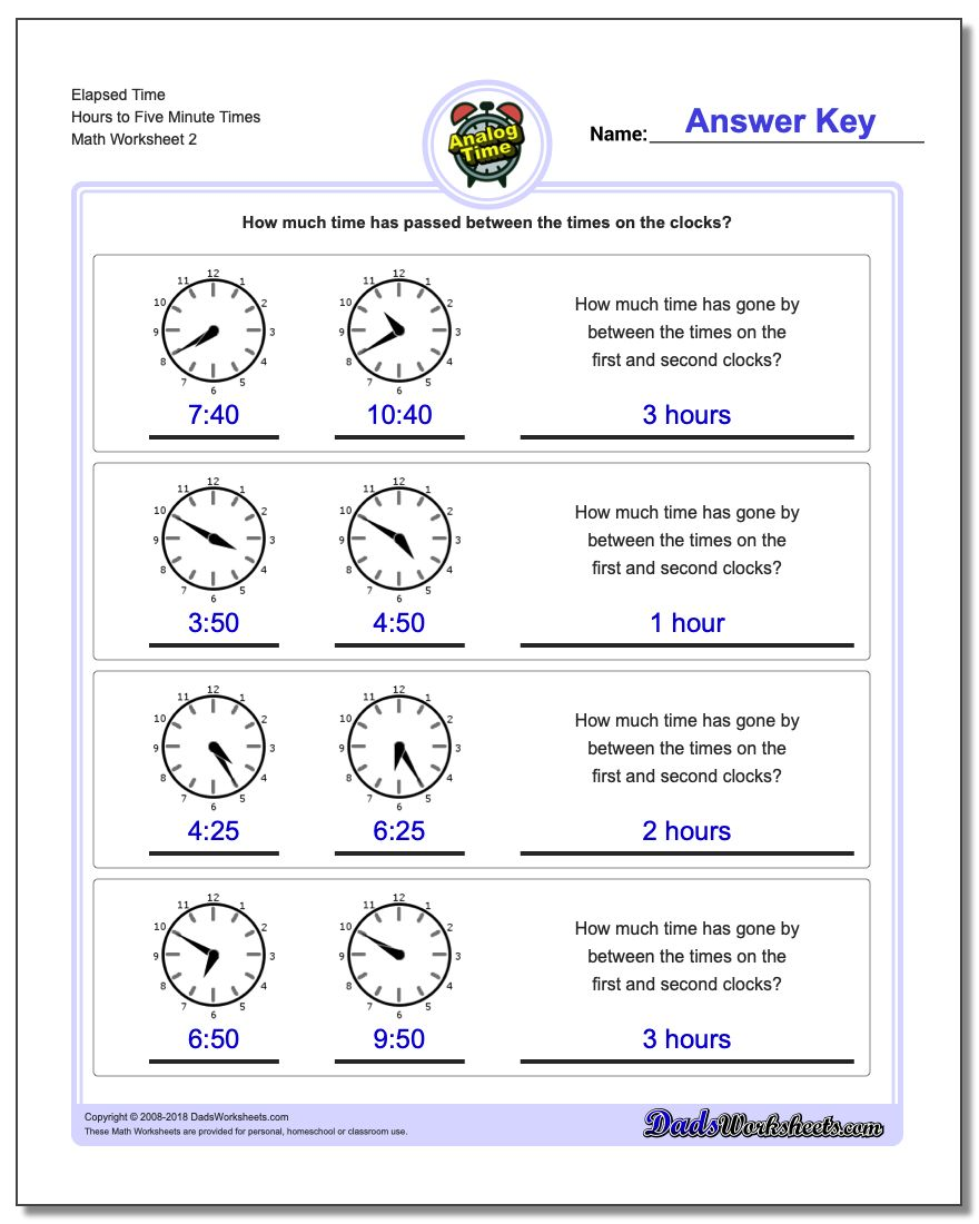 Elapsed Time Hours to Five Minute Times www.dadsworksheets.com/worksheets/analog-elapsed-time.html Worksheet
