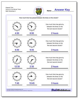 Elapsed Time Hours to Five Minute Times Worksheet