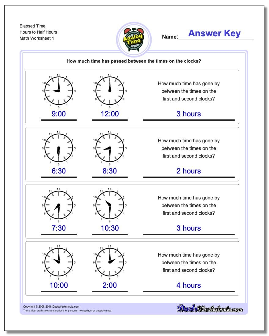 Analog Elapsed Time – Time to the Hour Worksheets