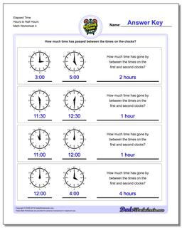 Elapsed Time Hours to Half Hours Worksheet