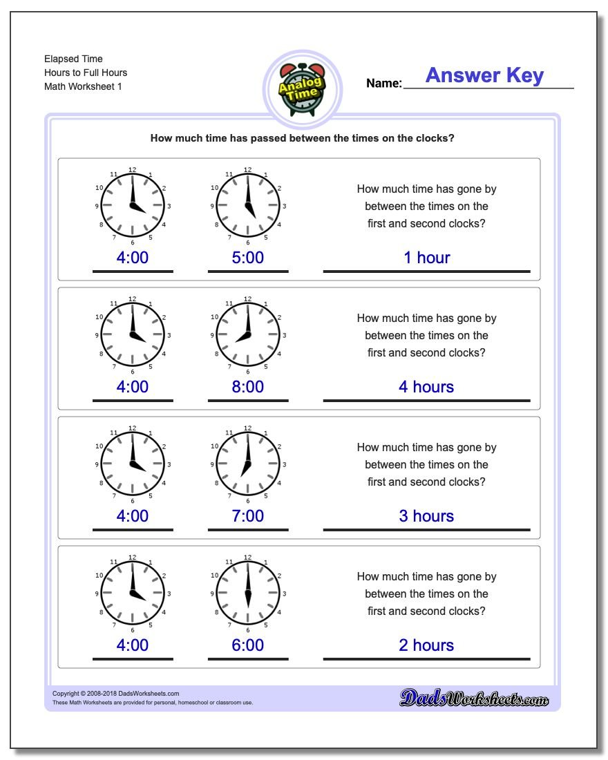 Analog Elapsed Time Hours to Full Hours Worksheets