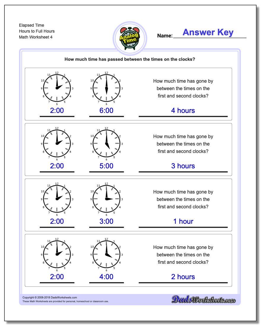 Elapsed Time Hours to Full Hours Worksheet