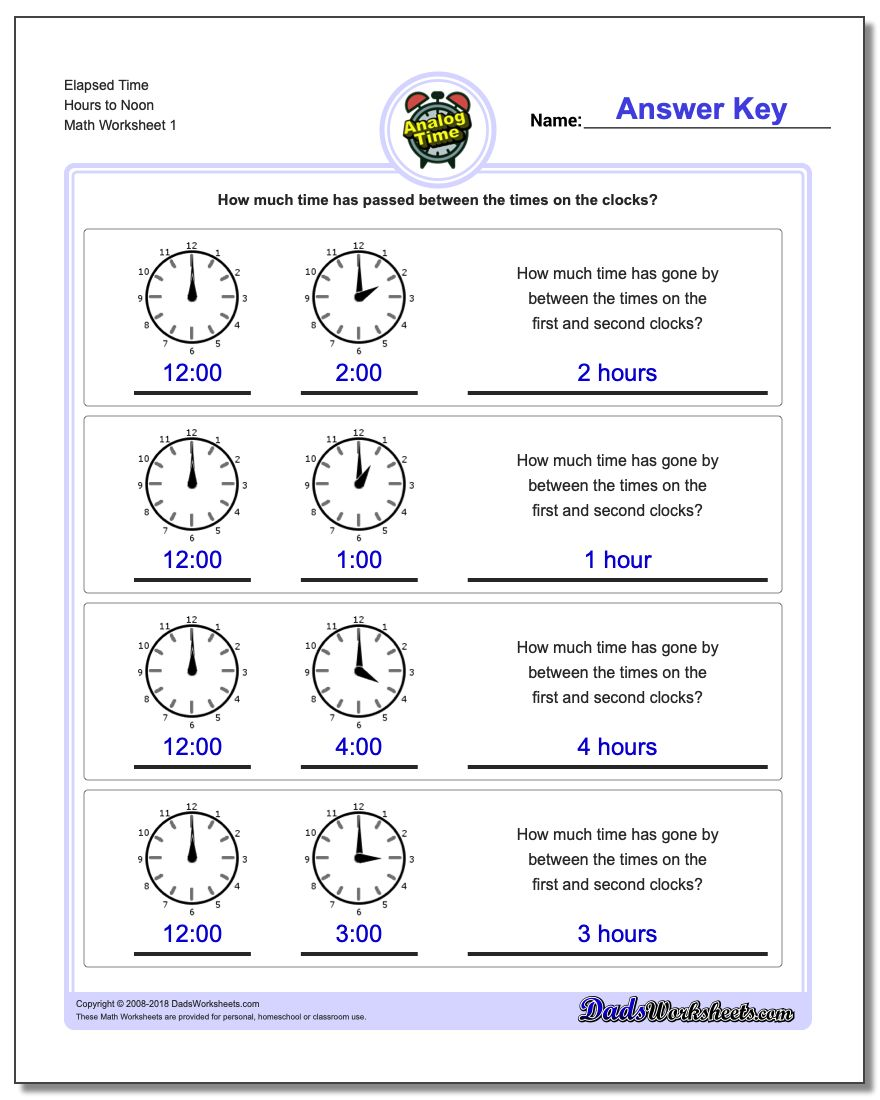 Analog Elapsed Time – Elapsed Time Worksheet