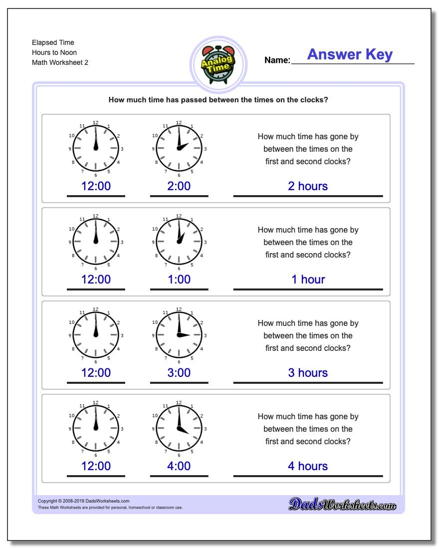 Elapsed Time Hours to Noon www.dadsworksheets.com/worksheets/analog-elapsed-time.html Worksheet