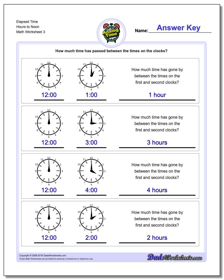 Elapsed Time Hours to Noon Worksheet