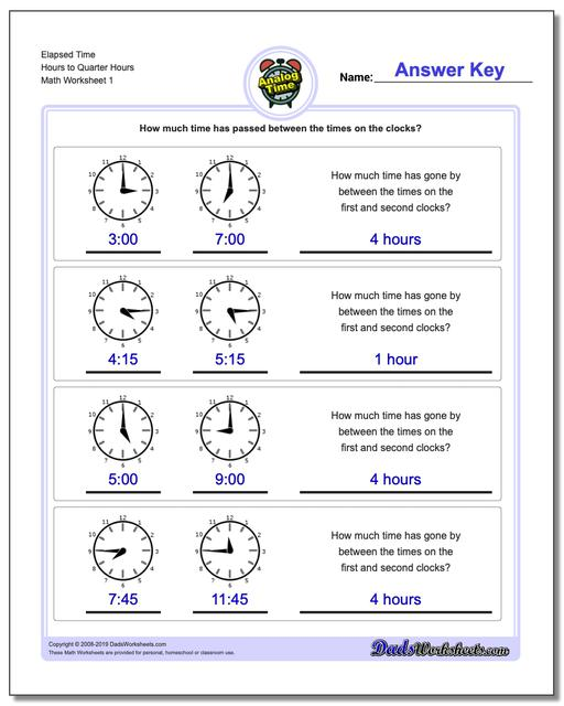 Analog Elapsed Time Hours to Quarter Hours Worksheets