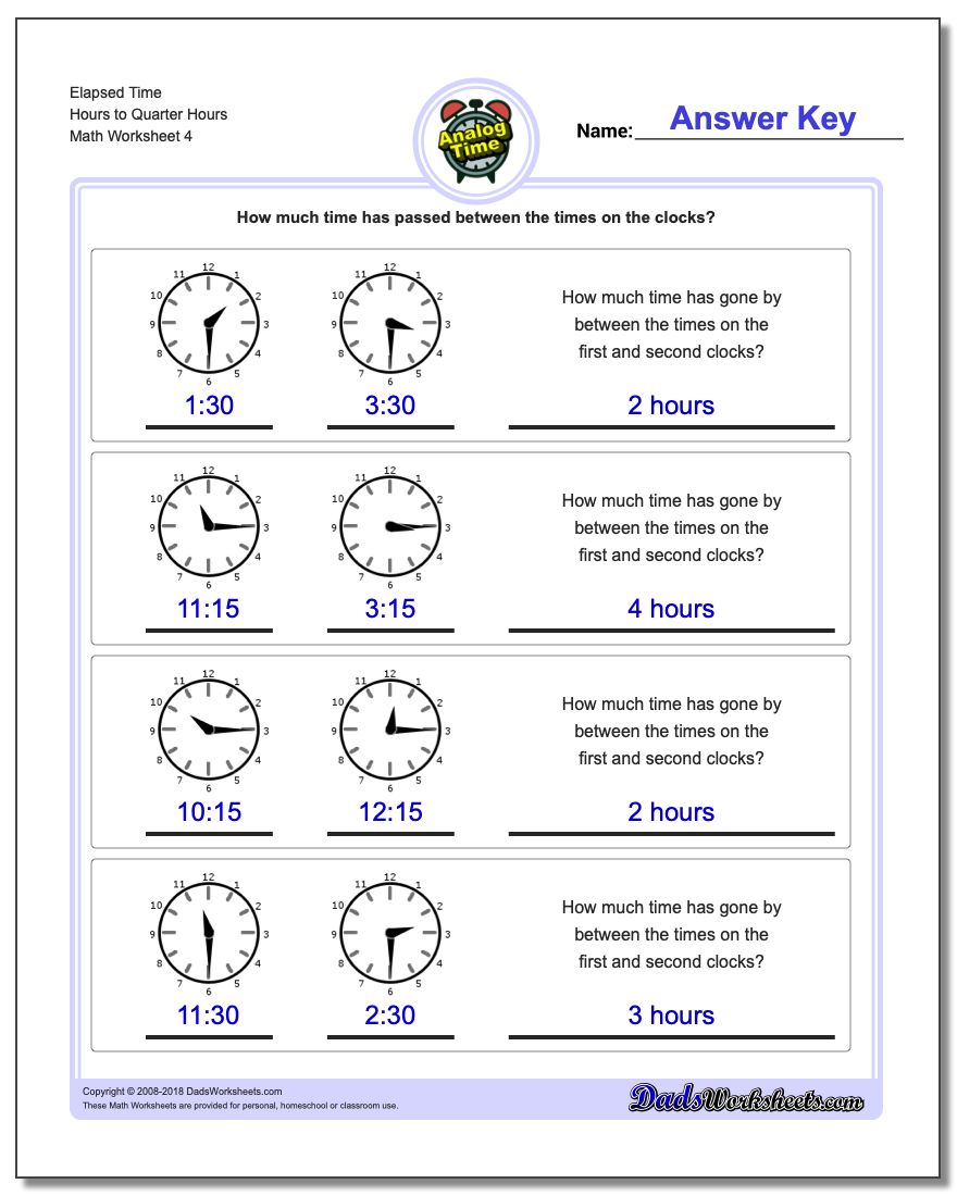 Elapsed Time Hours to Quarter Hours Worksheet