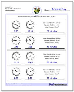 Analog Elapsed Time Minutes to Five Minute Times Worksheet