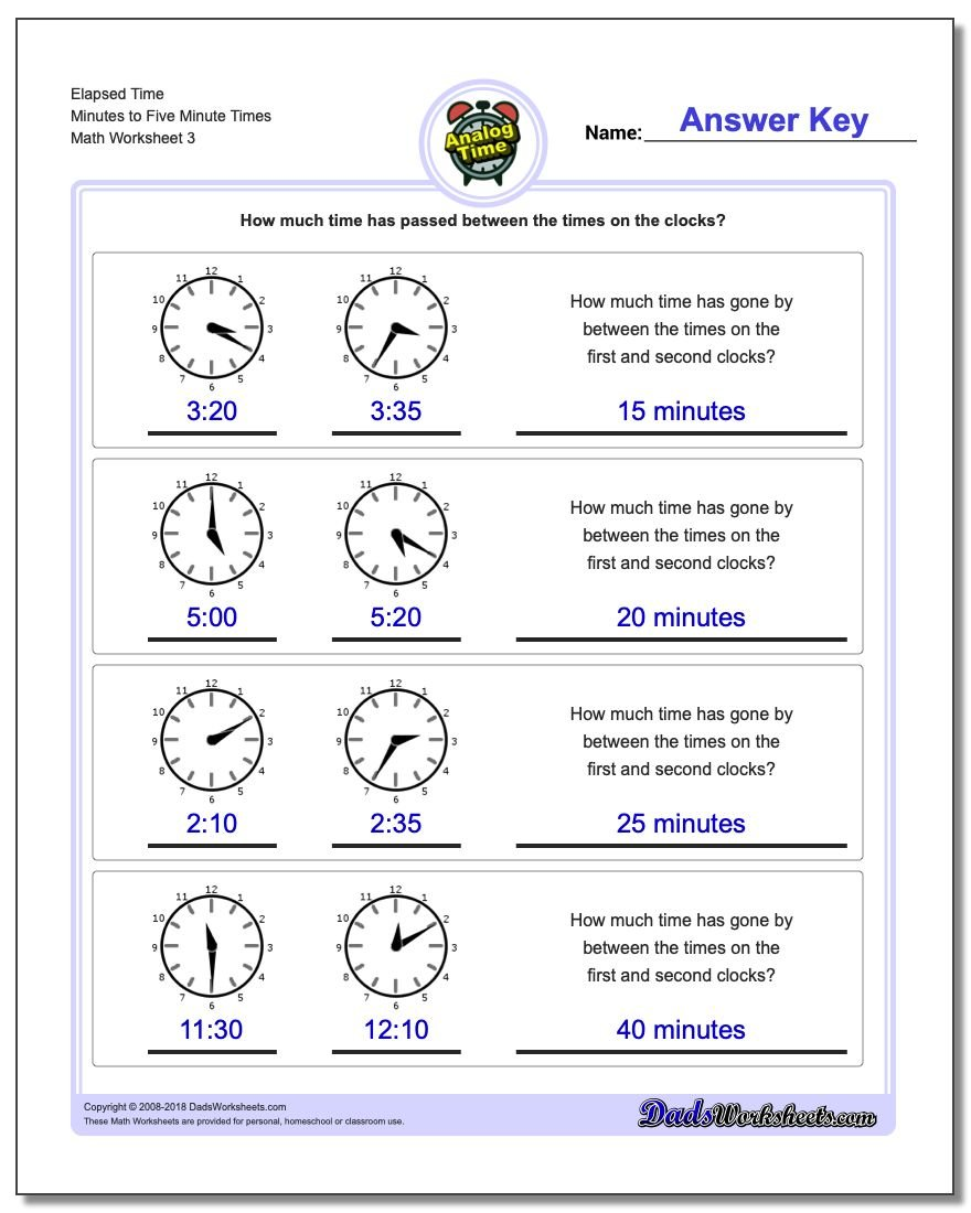Elapsed Time Minutes to Five Minute Times Worksheet