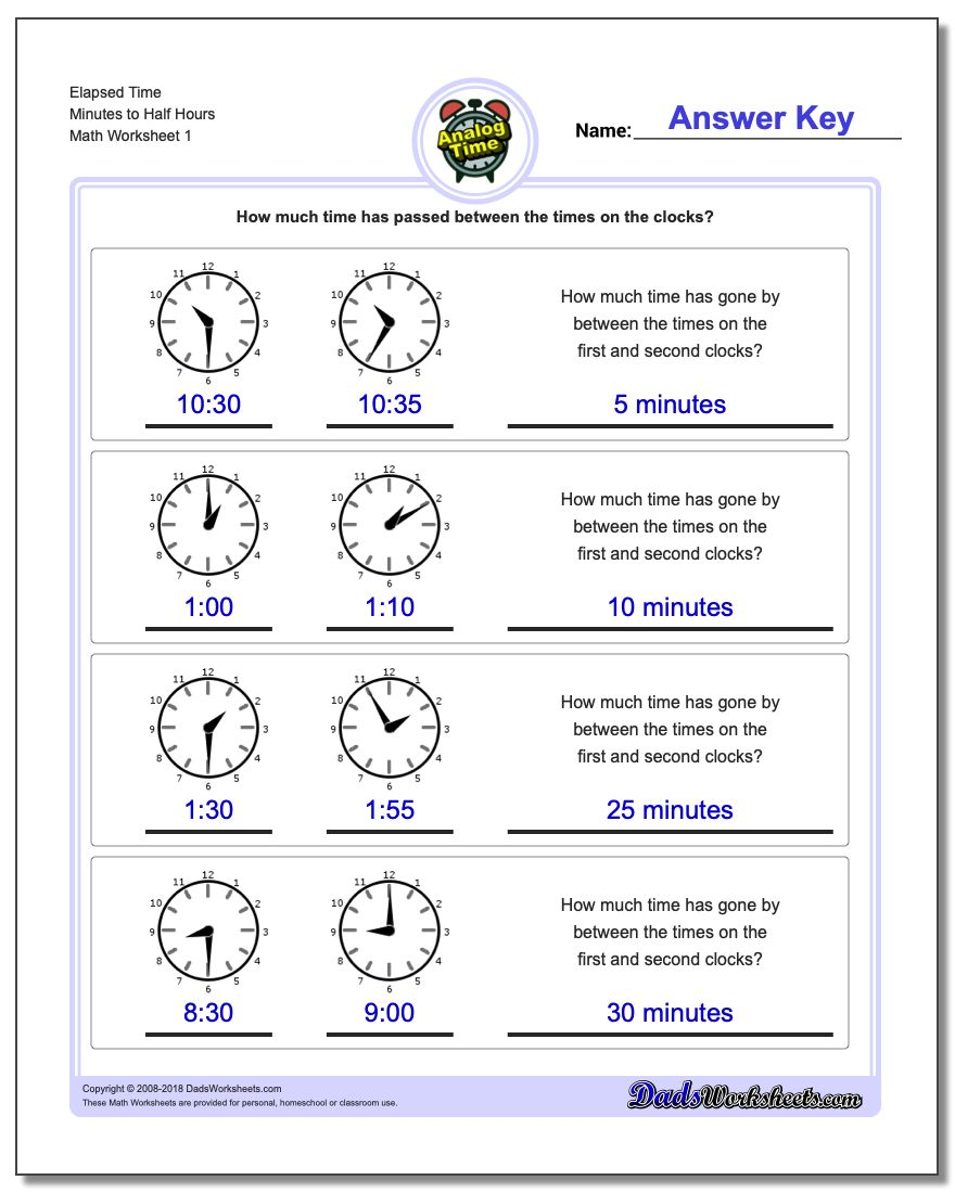 Analog Elapsed Time Minutes to Half Hours Worksheets