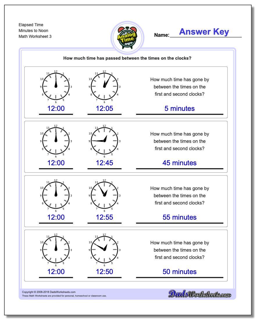 Elapsed Time Minutes to Noon Worksheet