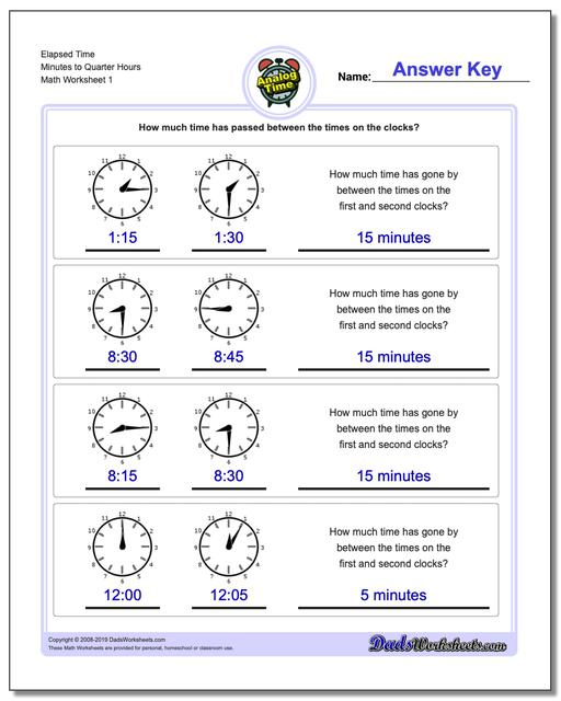 Analog Elapsed Time Minutes to Quarter Hours Worksheets
