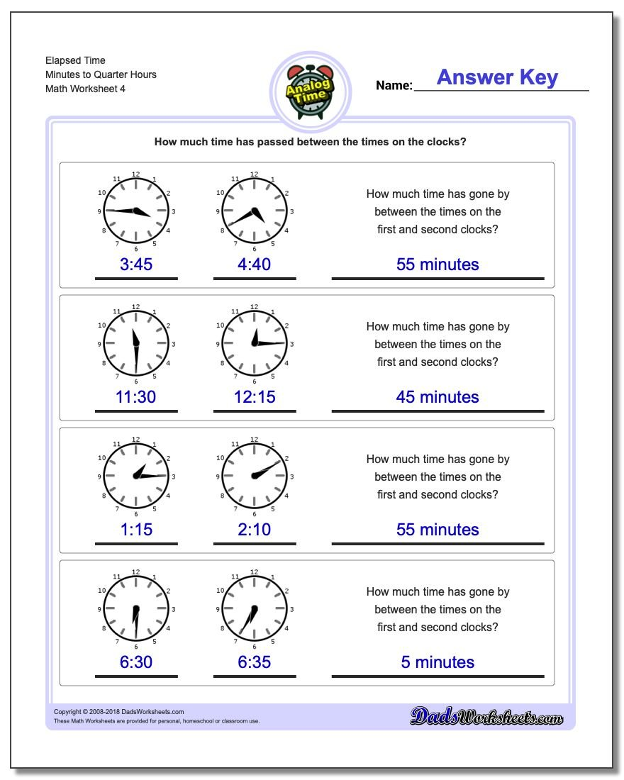 Elapsed Time Minutes to Quarter Hours Worksheet