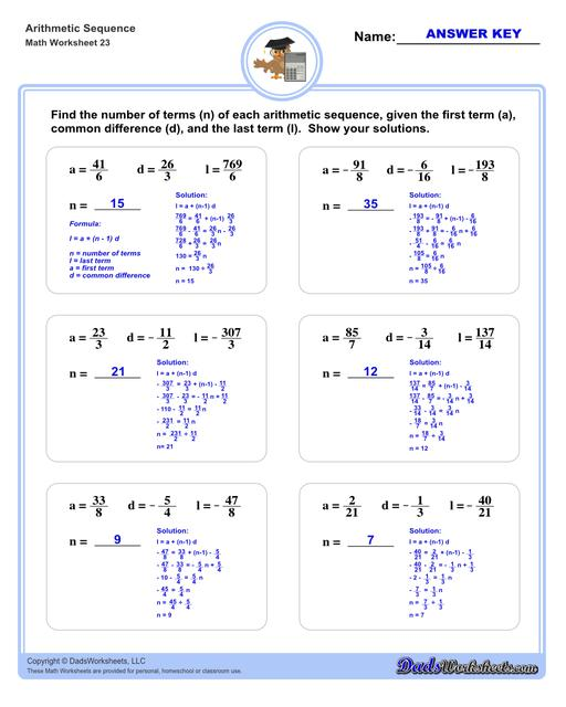Arithmetic sequences worksheets including practice finding the common difference for a sequence of numbers, or finding arbitrary nth terms in an arithmetic sequence given its formula definition.  Arithmetic Sequence Number Of Terms V3