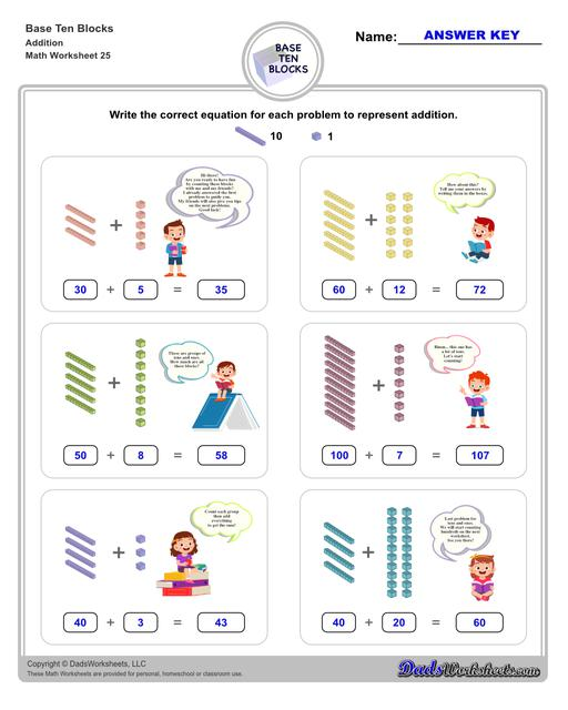 Base ten blocks worksheets that teach basic addition, subtraction, number sense and place value using visual representations of quantity. Appropriate for preschool, Kindergarten and first grade students learning basic math skills.  Base Ten Blocks Addition V1