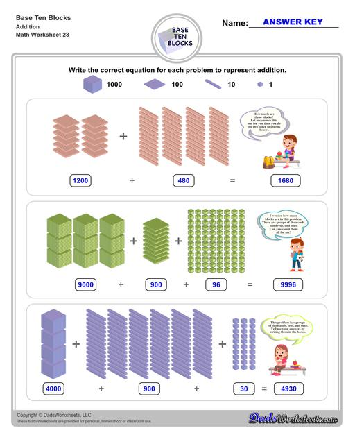 Base ten blocks worksheets that teach basic addition, subtraction, number sense and place value using visual representations of quantity. Appropriate for preschool, Kindergarten and first grade students learning basic math skills.  Base Ten Blocks Addition V4