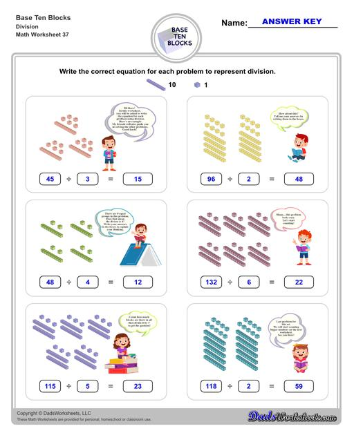 Base ten blocks worksheets that teach basic addition, subtraction, number sense and place value using visual representations of quantity. Appropriate for preschool, Kindergarten and first grade students learning basic math skills.  Base Ten Blocks Division V1