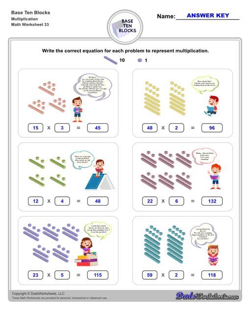 Base ten blocks worksheets that teach basic addition, subtraction, number sense and place value using visual representations of quantity. Appropriate for preschool, Kindergarten and first grade students learning basic math skills.  Base Ten Blocks Multiplication V1