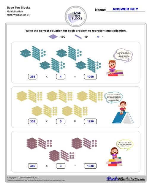 Base ten blocks worksheets that teach basic addition, subtraction, number sense and place value using visual representations of quantity. Appropriate for preschool, Kindergarten and first grade students learning basic math skills.  Base Ten Blocks Multiplication V2