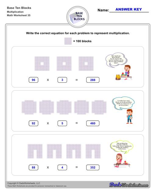 Base ten blocks worksheets that teach basic addition, subtraction, number sense and place value using visual representations of quantity. Appropriate for preschool, Kindergarten and first grade students learning basic math skills.  Base Ten Blocks Multiplication V3