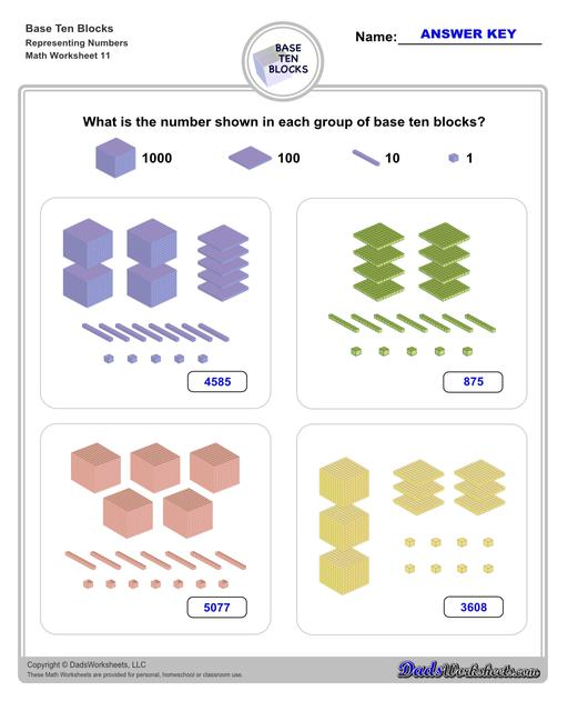 Base ten blocks worksheets that teach basic addition, subtraction, number sense and place value using visual representations of quantity. Appropriate for preschool, Kindergarten and first grade students learning basic math skills. Number Sense V11