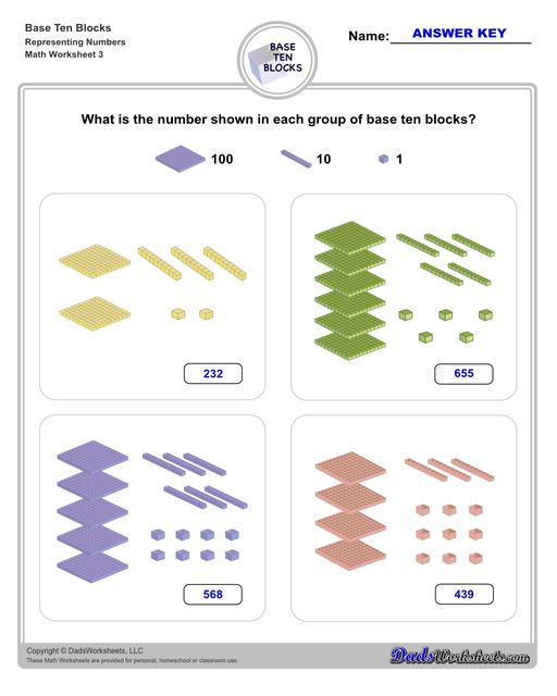 Base ten blocks worksheets that teach basic addition, subtraction, number sense and place value using visual representations of quantity. Appropriate for preschool, Kindergarten and first grade students learning basic math skills. Number Sense V3
