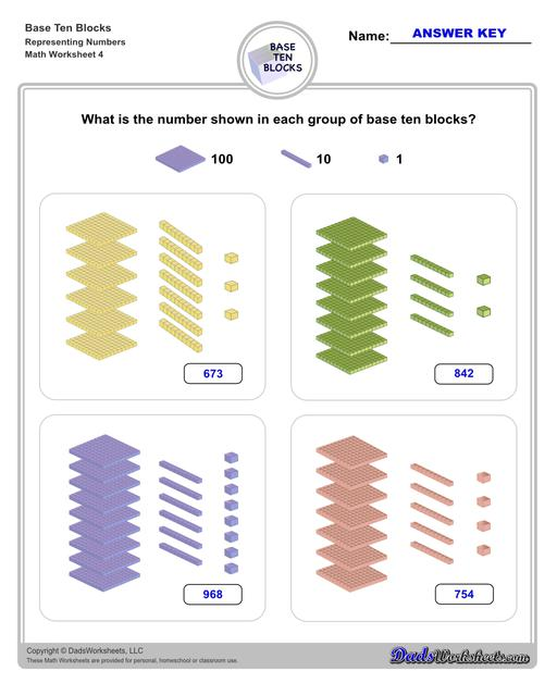 Base ten blocks worksheets that teach basic addition, subtraction, number sense and place value using visual representations of quantity. Appropriate for preschool, Kindergarten and first grade students learning basic math skills. Number Sense V4