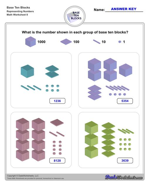 Base ten blocks worksheets that teach basic addition, subtraction, number sense and place value using visual representations of quantity. Appropriate for preschool, Kindergarten and first grade students learning basic math skills. Number Sense V8