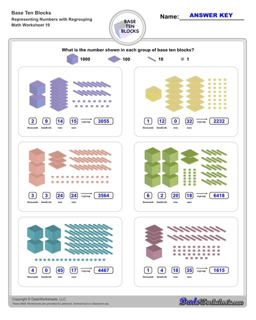 Base ten blocks worksheets that teach basic addition, subtraction, number sense and place value using visual representations of quantity. Appropriate for preschool, Kindergarten and first grade students learning basic math skills. Numbers With Regrouping V3