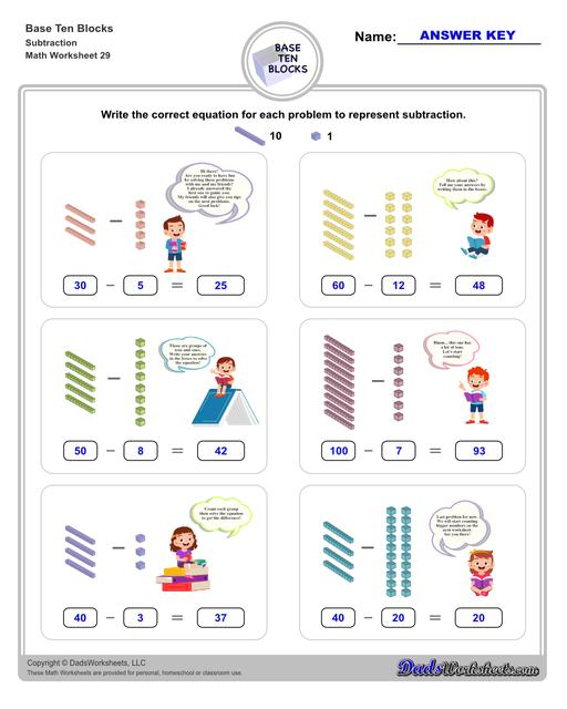 Base ten blocks worksheets that teach basic addition, subtraction, number sense and place value using visual representations of quantity. Appropriate for preschool, Kindergarten and first grade students learning basic math skills.  Base Ten Blocks Subtraction V1