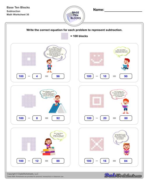 Base ten blocks worksheets that teach basic addition, subtraction, number sense and place value using visual representations of quantity. Appropriate for preschool, Kindergarten and first grade students learning basic math skills.  Base Ten Blocks Subtraction V2