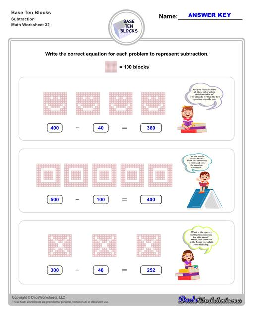 Base ten blocks worksheets that teach basic addition, subtraction, number sense and place value using visual representations of quantity. Appropriate for preschool, Kindergarten and first grade students learning basic math skills.  Base Ten Blocks Subtraction V4