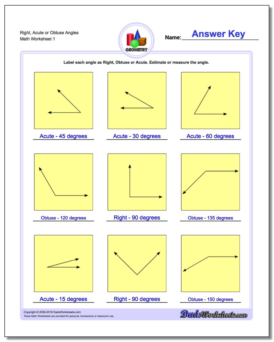 Right, Acute or Obtuse Angles Basic Geometry Worksheet