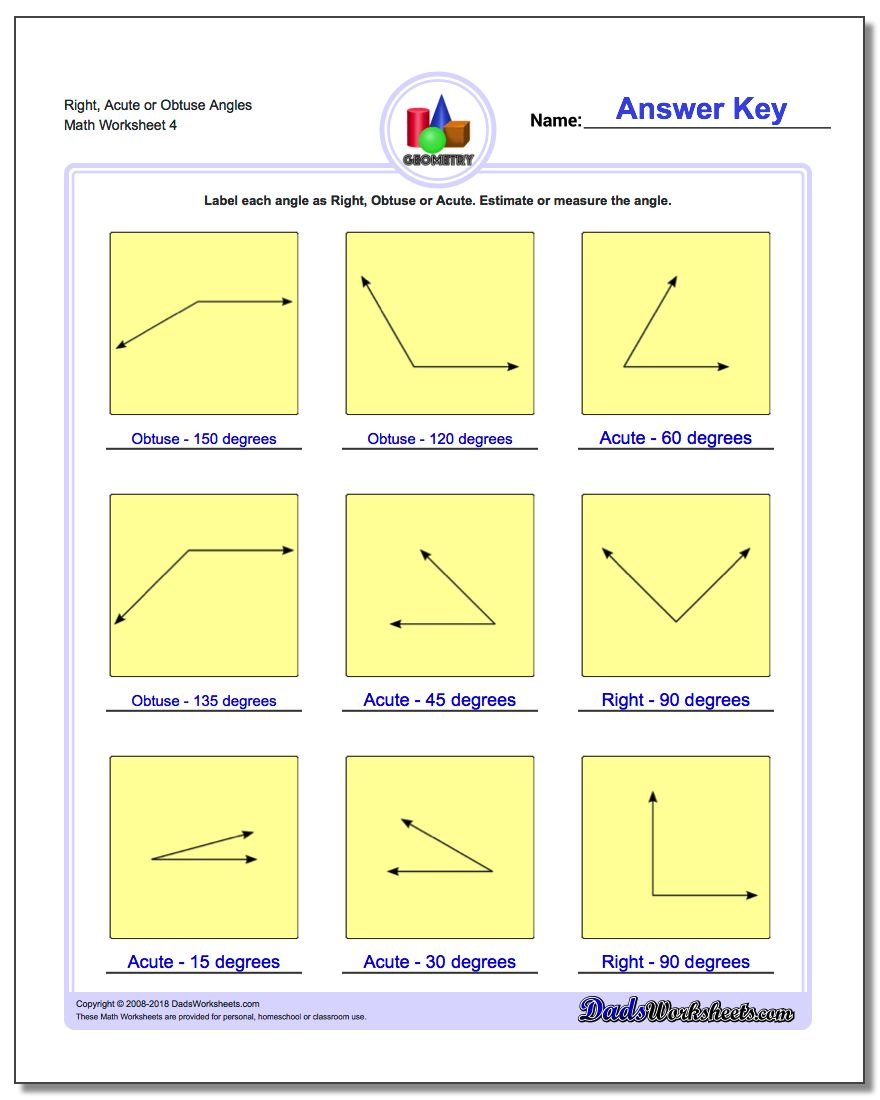 Right, Acute or Obtuse Angles Worksheet