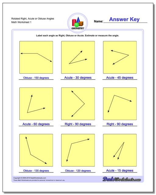 Rotated Right, Acute or Obtuse Angles Basic Geometry Worksheets