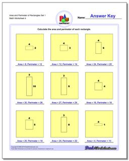 Area and Perimeter of Rectangles Set 1 Worksheet
