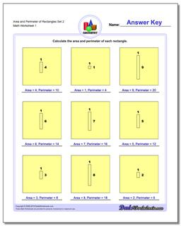 Area and Perimeter of Rectangles Set 2 Basic Geometry Worksheet