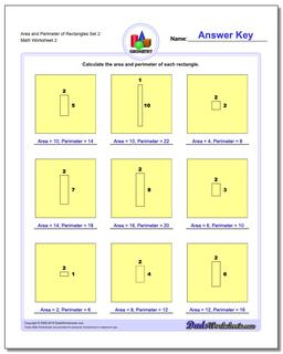 Area and Perimeter of Rectangles Set 2 www.dadsworksheets.com/worksheets/basic-geometry.html Worksheet
