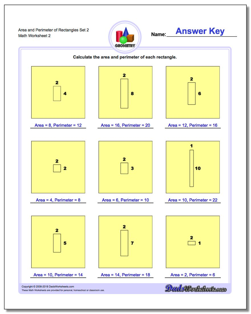 Area and Perimeter of Rectangles Set 2 www.dadsworksheets.com/worksheets/basic-geometry.html Worksheet