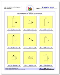 Area and Perimeter of Rectangles Set 2 Worksheet