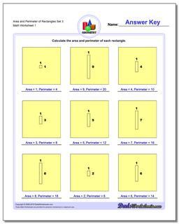 Area and Perimeter of Rectangles Set 3 Basic Geometry Worksheet