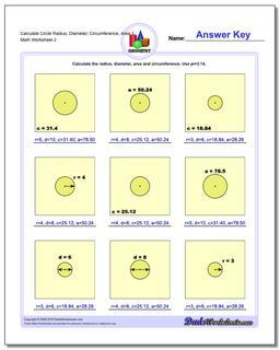 Calculate Circle Radius, Diameter, Circumference, Area 1 www.dadsworksheets.com/worksheets/basic-geometry.html Worksheet