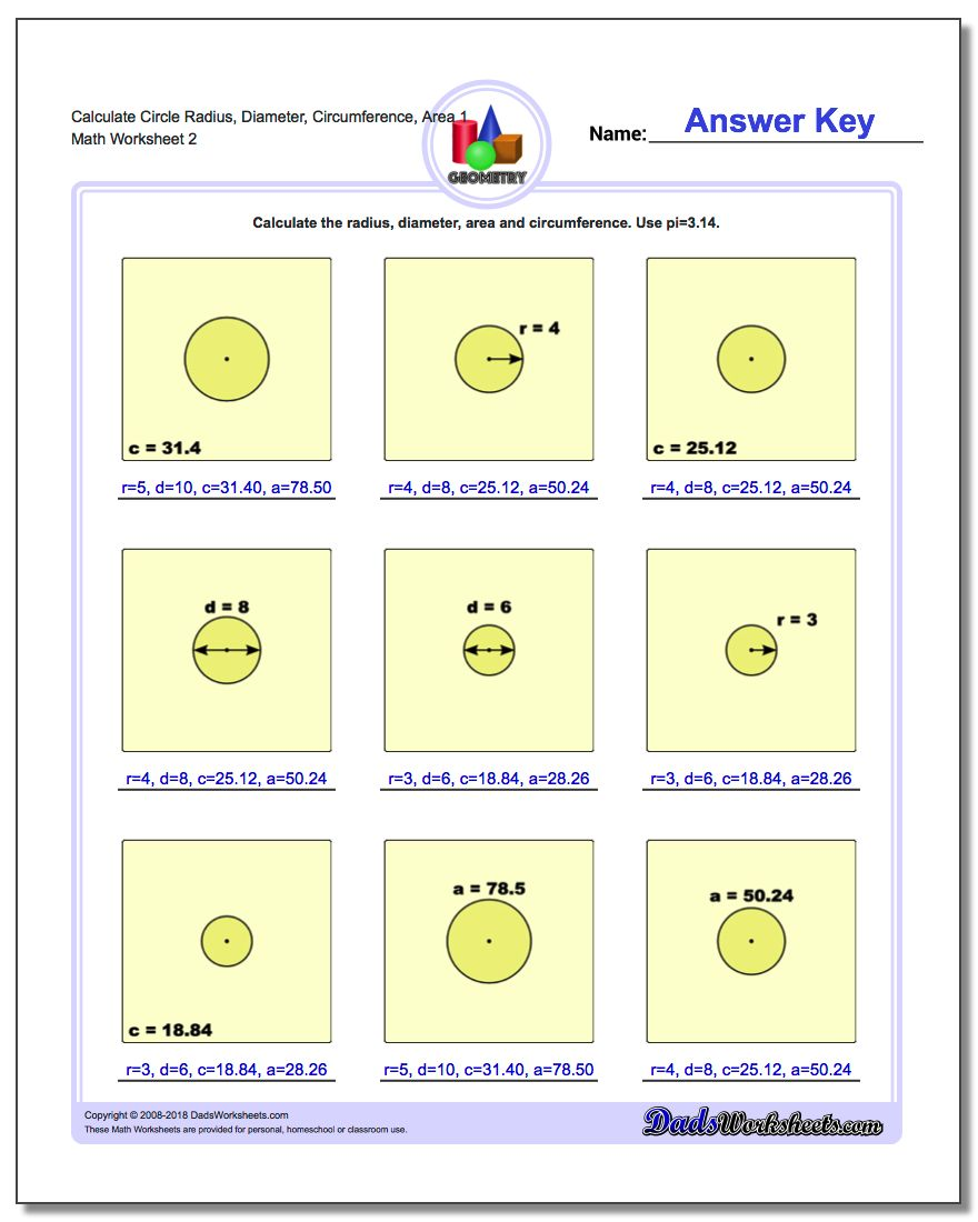 Calculate Circle Radius, Diameter, Circumference, Area 1 www.dadsworksheets.com/worksheets/basic-geometry.html Worksheet